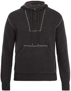 Bottega Veneta Contrast-trim half-zip hooded sweater
