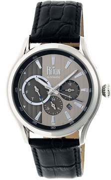 Reign Gustaf Steel Case Black Leather Strap Men's Watch
