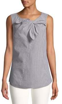 Isaac Mizrahi IMNYC Seersucker Stripe Bow Tie Front Sleeveless Shell Top