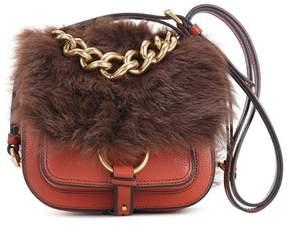 Miu Miu Shearling-trimmed leather shoulder bag