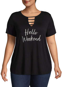 Boutique + + Short Sleeve V Neck Hello Weekend Graphic T-Shirt - Plus