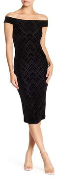 Dress the Population Eden Off-the-Shoulder Geometric Velvet Dress