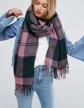 Asos Long Woven Scarf in Mauve Oversized Check With Tassels