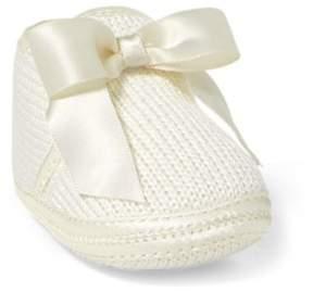 Ralph Lauren Addison Knit Slipper With Bow White Knit 0-6 Wks