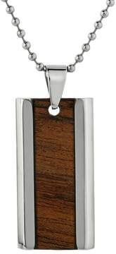Lynx Stainless Steel & Wood Dog Tag Necklace - Men