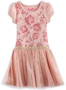 Nannette Girls 4-6x Floral Glitter Print Pleated Dress