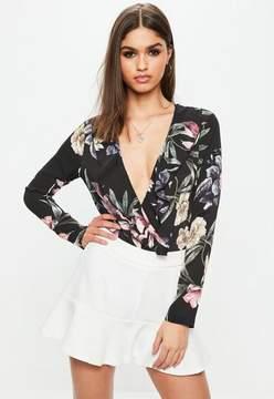 Missguided Black Floral Print Wrap Front Bodysuit