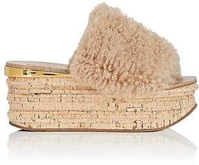 Chloé Women's Camille Shearling Wedge Mules