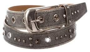 Miu Miu Distressed Leather Buckle Belt