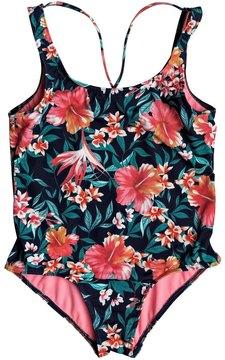 Roxy Girls' Waves Printed One Piece Swimsuit (Big Kid) 8167496
