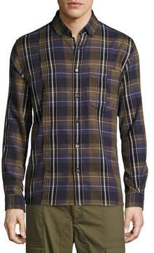 Public School Retro Plaid Cotton Exposed-Seam Shirt