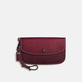 COACH Coach Clutch With Colorblock Snakeskin Handle - BLACK COPPER/BORDEAUX - STYLE