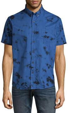 Arizona Short Sleeve Printed Poplin Button-Front Shirt