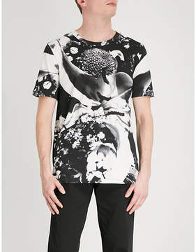 HUGO Abstract floral-print cotton-jersey T-shirt