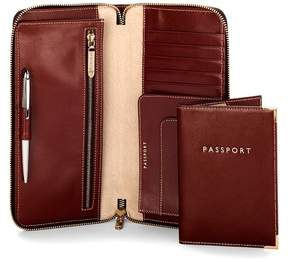 Aspinal of London Zipped Travel Wallet With Passport Cover In Smooth Cognac Stone Suede