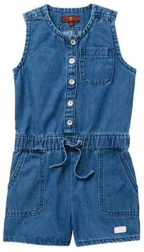 7 For All Mankind Front Button Romper (Little Girls)
