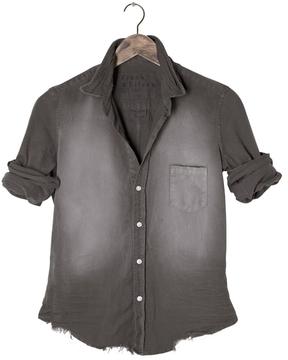 Frank And Eileen Womens Barry Stonewashed Distressed Indigo Denim Shirt