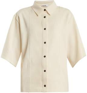 Jil Sander Point-collar panelled cotton-blend shirt