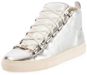 Balenciaga Men's Arena Metallic Leather High-Top Sneaker