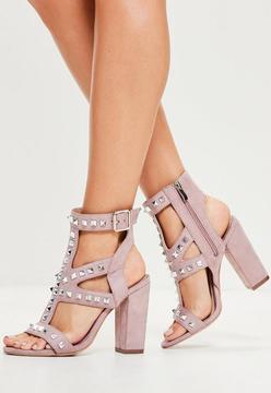 Missguided Purple Studded Detail Block Heeled Sandals