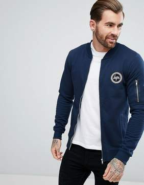 Hype Jersey Bomber Jacket In Navy