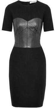 Carolina Herrera Leather-Paneled Wool Dress