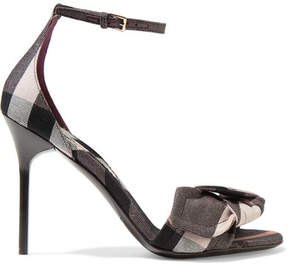 Burberry Bow-embellished Checked Canvas Sandals - Antique rose