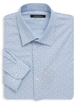 Saks Fifth Avenue BLACK Floral Dotted Dress Shirt
