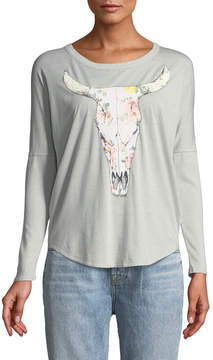 Chaser Blooming Cow Skull Cowl-Back Graphic Tee