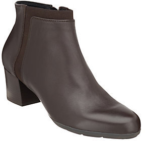Geox Leather Block Heel Ankle Boots - Annya Mid
