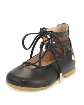 Aquazzura Belgravia Baby Leather Ballerina Flat, Black, Toddler/Youth