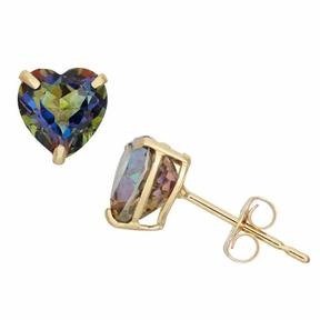 Tiara 1 1/2 CT TW Mystic Blue Topaz 10K Gold Heart-Shaped Solitaire Stud Earrings