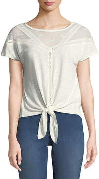 Dex Lace-Trim Tie-Front Tee