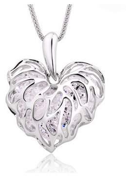 Alpha A A Silver Tone Heart Leaf Necklace Measures 18