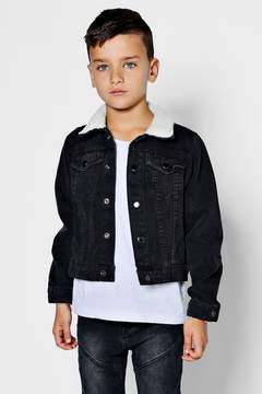 boohoo Boys Borg Collar And Cuff Denim Jacket