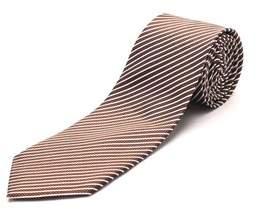 Luciano Barbera Men's Slim Silk Neck Tie Brown Black Silver.