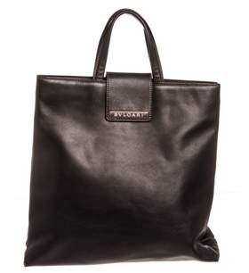 Bvlgari Black Leather Tote Handbag.