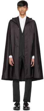 Prada Black Waterproof Nylon Cape Coat
