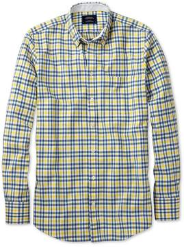Charles Tyrwhitt Extra Slim Fit Blue and Yellow Check Washed Oxford Cotton Casual Shirt Single Cuff Size XS
