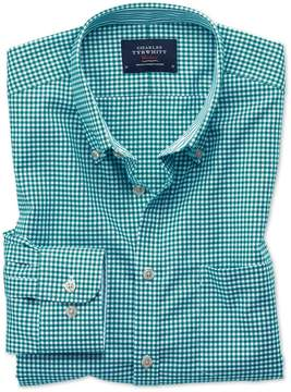 Charles Tyrwhitt Extra Slim Fit Button-Down Non-Iron Oxford Gingham Green Cotton Casual Shirt Single Cuff Size XXL