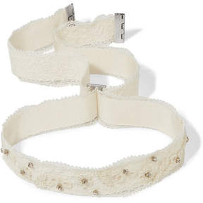 Etro Embellished Lace And Grosgrain Choker - Ivory