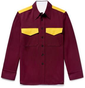 Calvin Klein Slim-Fit Two-Tone Wool-Twill Shirt