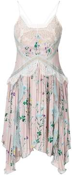 Self-Portrait floral print asymmetric dress with lace inserts