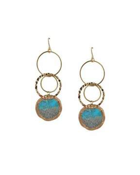 Devon Leigh Turquoise Circle Drop Earrings