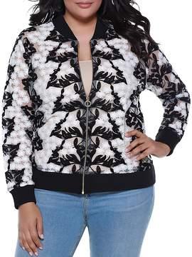 Belldini Sheer Floral Crochet Bomber Jacket - 100% Exclusive