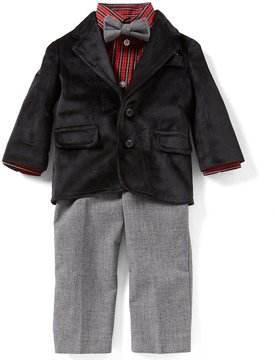 Starting Out Baby Boys 12-24 Months Velvet Jacket, Plaid Button-Down Shirt, & Pants 3-Piece Suit Set