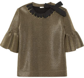Fendi Grosgrain-trimmed Metallic Scuba Top - Gold