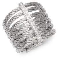 Alor Cable 18K White Gold & Diamond Midi Ring