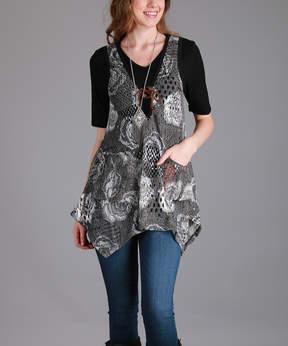 Lily Beige Floral Handkerchief Vest - Women