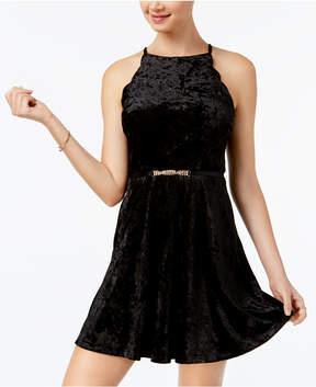 BCX Juniors' Belted Velvet Fit & Flare Dress
